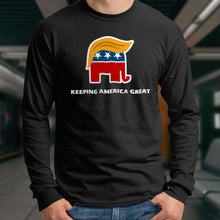 Load image into Gallery viewer, Designs by MyUtopia Shout Out:Trump Keeping America Great Elephant Long Sleeve Ultra Cotton T-Shirt