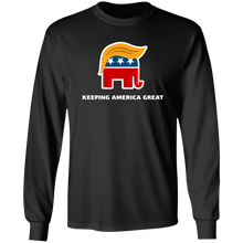 Load image into Gallery viewer, Designs by MyUtopia Shout Out:Trump Keeping America Great Elephant Long Sleeve Ultra Cotton T-Shirt,Black / S,Long Sleeve T-Shirts