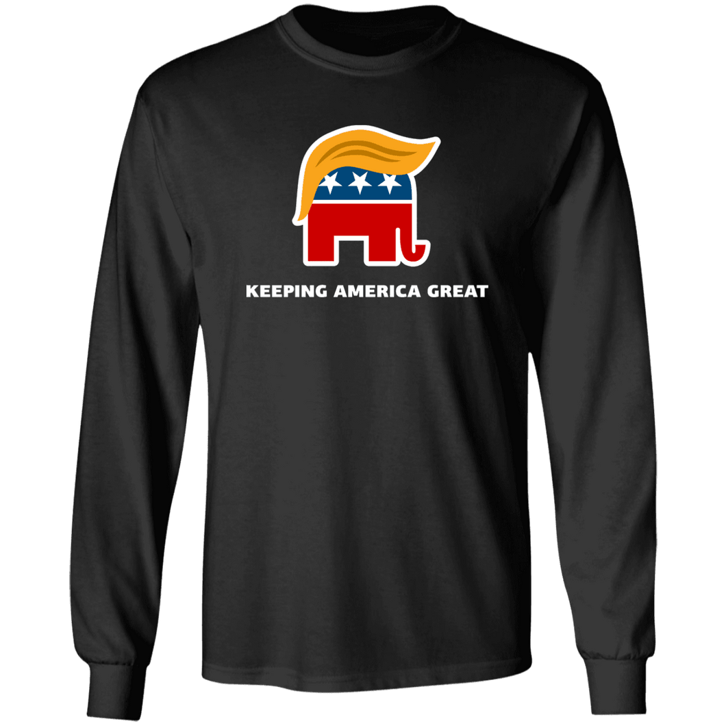 Designs by MyUtopia Shout Out:Trump Keeping America Great Elephant Long Sleeve Ultra Cotton T-Shirt,Black / S,Long Sleeve T-Shirts