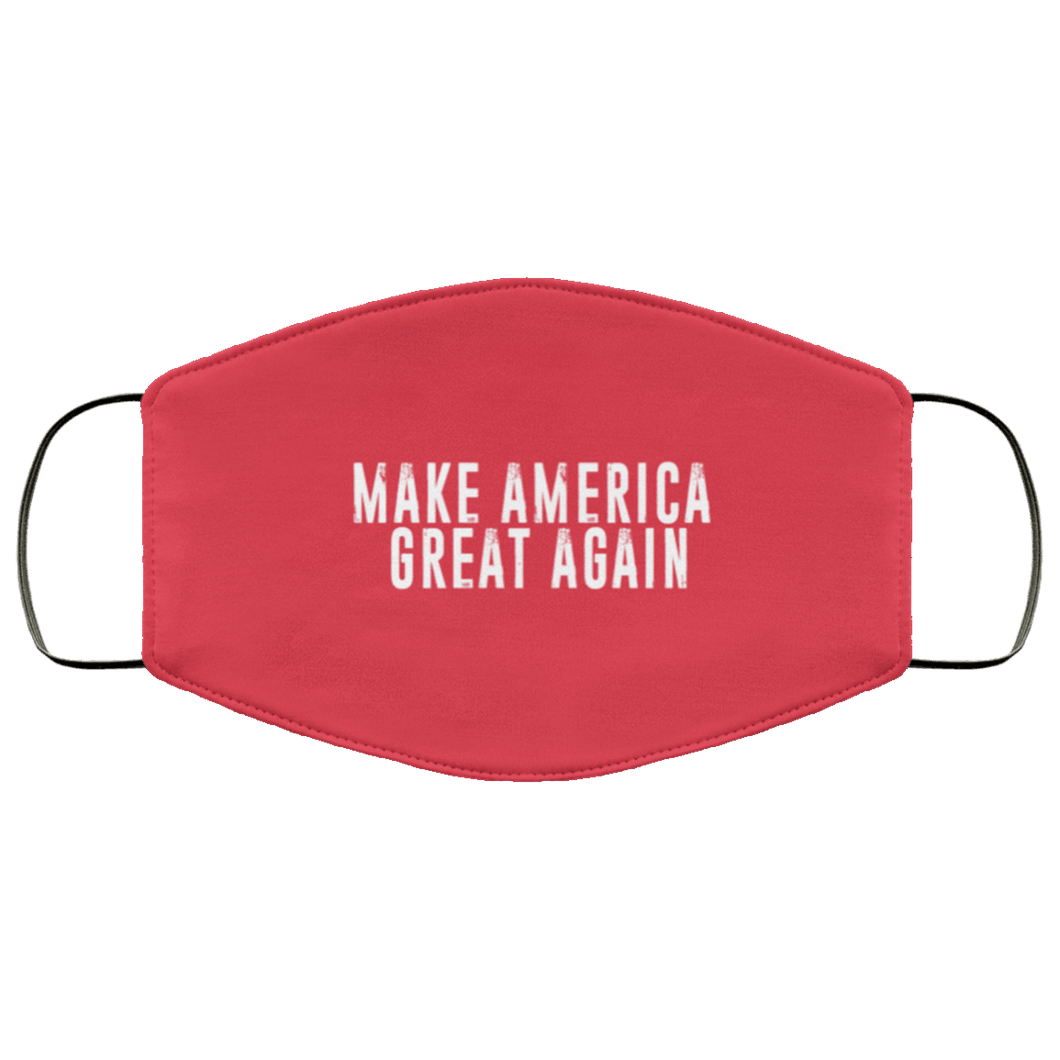 Designs by MyUtopia Shout Out:Trump Make America Great Again Adult Fabric Face Mask with Elastic Ear Loops,3 Layer Fabric Face Mask / Red / Adult,Fabric Face Mask
