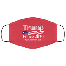 Load image into Gallery viewer, Designs by MyUtopia Shout Out:Trump Pence 2020 Adult Fabric Face Mask with Elastic Ear Loops,3 Layer Fabric Face Mask / Red / Adult,Fabric Face Mask