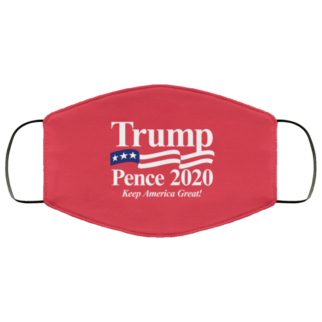 Designs by MyUtopia Shout Out:Trump Pence 2020 Adult Fabric Face Mask with Elastic Ear Loops,3 Layer Fabric Face Mask / Red / Adult,Fabric Face Mask