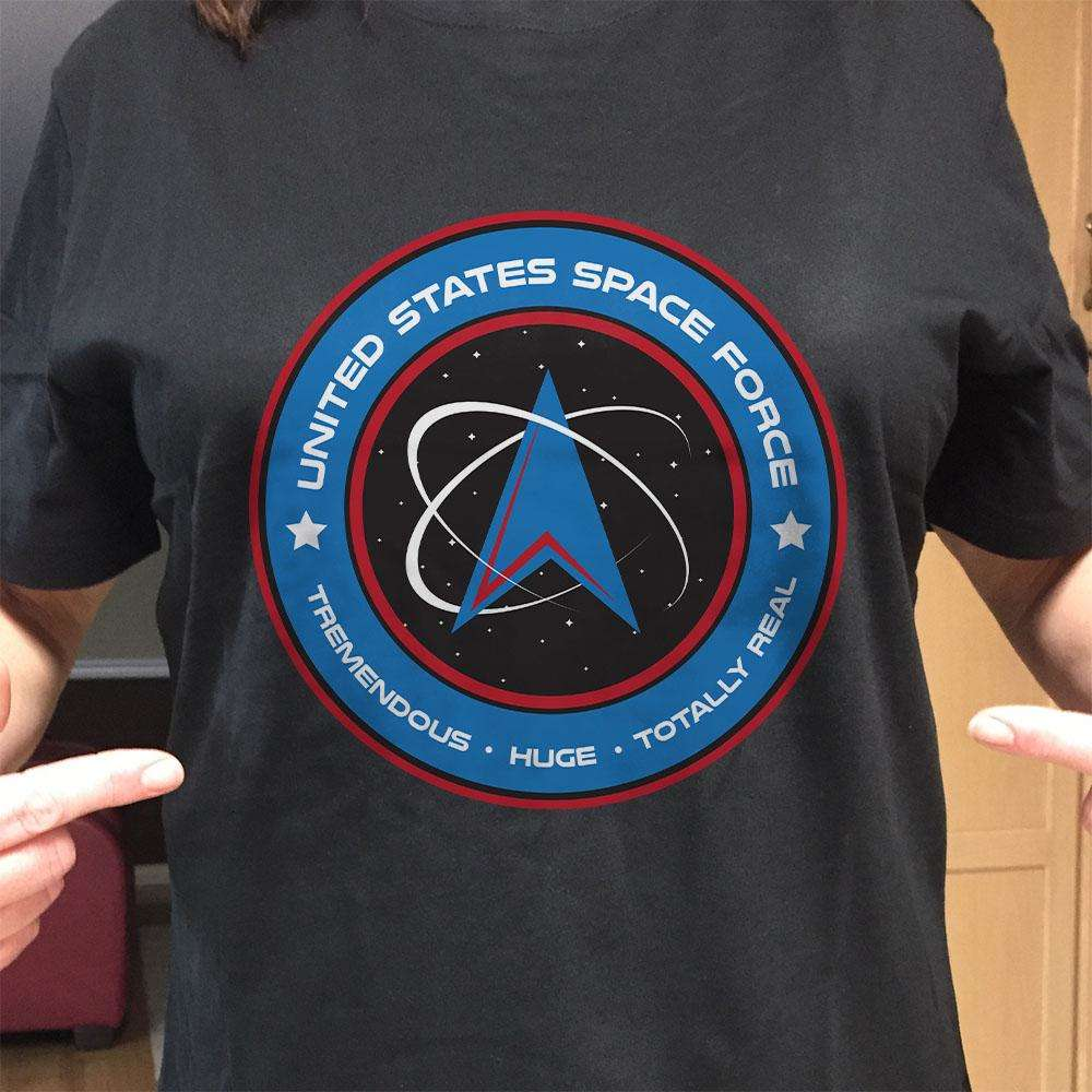 Designs by MyUtopia Shout Out:United States Space Force v1 Adult Unisex Black T-Shirt