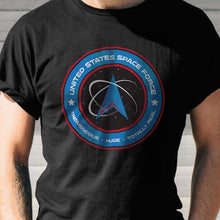 Load image into Gallery viewer, Designs by MyUtopia Shout Out:United States Space Force v1 Adult Unisex Black T-Shirt