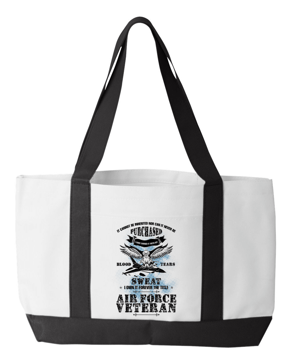 Designs by MyUtopia Shout Out:US Air Force Veteran Canvas Totebag Gym / Beach / Pool Gear Bag,Default Title,Gym Totebag
