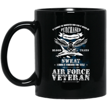 Load image into Gallery viewer, Designs by MyUtopia Shout Out:US Air Force Veteran Ceramic Coffee Mug - Black,11 oz / Black,Ceramic Coffee Mug
