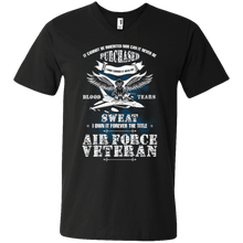 Load image into Gallery viewer, Designs by MyUtopia Shout Out:US Air Force Veteran Men's Printed V-Neck T-Shirt,S / Black,Adult Unisex Vneck Tee