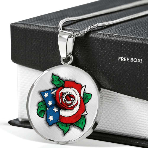 Designs by MyUtopia Shout Out:US Flag Rose Keepsake Engravable Liquid Glass Round Necklace
