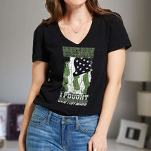 Load image into Gallery viewer, Designs by MyUtopia Shout Out:US Veteran Why We Fought Ladies' V-Neck T-Shirt