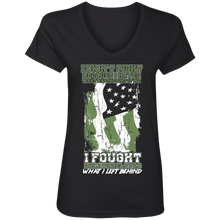 Load image into Gallery viewer, Designs by MyUtopia Shout Out:US Veteran Why We Fought Ladies' V-Neck T-Shirt,S / Black,Ladies T-Shirts