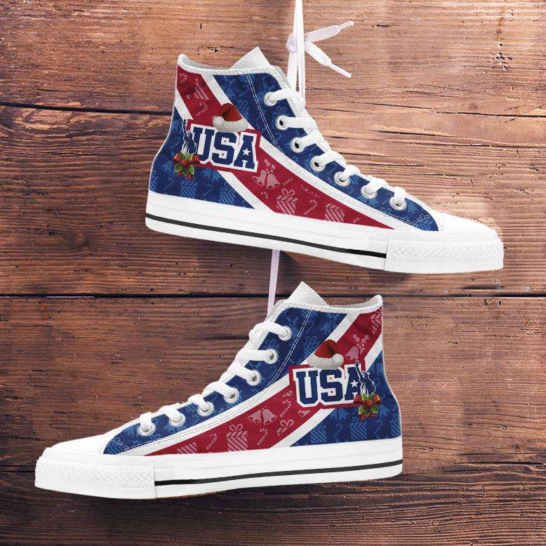 Designs by MyUtopia Shout Out:USA Christmas Football Pattern Canvas High Top Shoes,Men's / Mens US 5 (EU38) / Red/Blue/White,High Top Sneakers