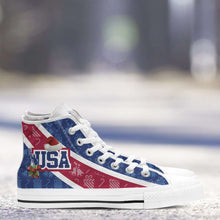 Load image into Gallery viewer, Designs by MyUtopia Shout Out:USA Christmas Football Pattern Canvas High Top Shoes