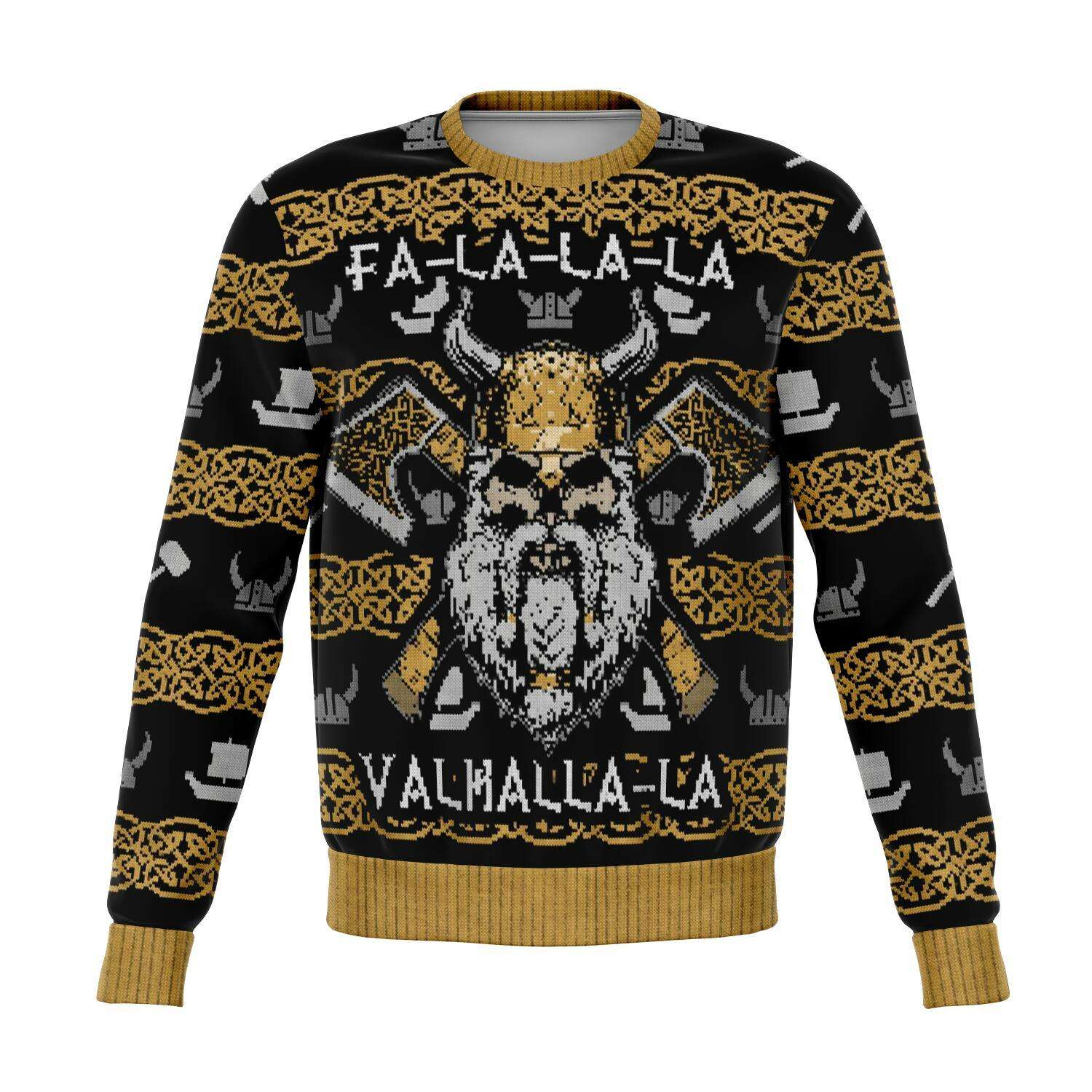 Designs by MyUtopia Shout Out:Valhalla-La Viking - Funny Christmas  Ugly Christmas Style Fashion Sweatshirt,XS / Multi,Fashion Sweatshirt - AOP