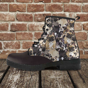 Designs by MyUtopia Shout Out:Vegan Leather Boots - French Bulldogs,Men's / Mens US5 (EU38) / Black/Brown,Lace-up Boots