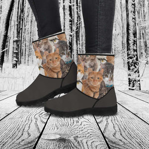 Designs by MyUtopia Shout Out:Vegan Suede / Fur Boots - Cats