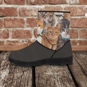 Designs by MyUtopia Shout Out:Vegan Suede / Fur Boots - Cats,Ladies US5.5 (EU36) / Grey,Fur Boots