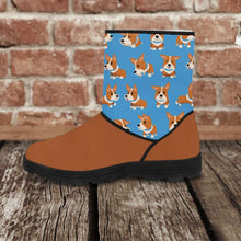 Load image into Gallery viewer, Designs by MyUtopia Shout Out:Vegan Suede / Fur Boots - Corgies,Ladies US5.5 (EU36) / Brown/Blue,Fur Boots