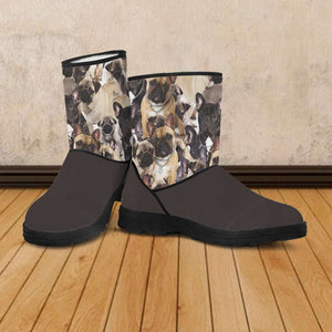 Designs by MyUtopia Shout Out:Vegan Suede / Fur Boots French Bulldog