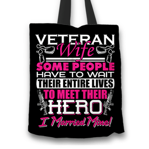 Designs by MyUtopia Shout Out:Veteran Wife, I Married My Hero Fabric Totebag Reusable Shopping Tote,Black,Reusable Fabric Shopping Tote Bag