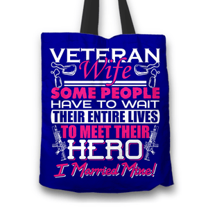 Designs by MyUtopia Shout Out:Veteran Wife, I Married My Hero Fabric Totebag Reusable Shopping Tote,Blue,Reusable Fabric Shopping Tote Bag