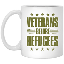 Load image into Gallery viewer, Designs by MyUtopia Shout Out:Veterans Before Refugees Ceramic Coffee Mug - White,11 oz / White,Ceramic Coffee Mug