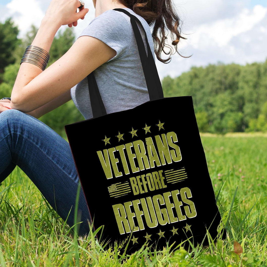 Designs by MyUtopia Shout Out:Veterans Before Refugees Fabric Totebag Reusable Shopping Tote