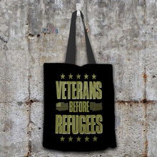 Load image into Gallery viewer, Designs by MyUtopia Shout Out:Veterans Before Refugees Fabric Totebag Reusable Shopping Tote