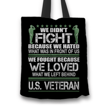 Load image into Gallery viewer, Designs by MyUtopia Shout Out:Veterans Don't Fight for Hate They Fight for Love Fabric Totebag Reusable Shopping Tote,Black,Reusable Fabric Shopping Tote Bag