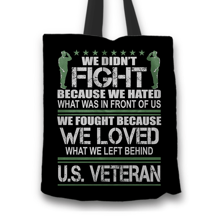 Designs by MyUtopia Shout Out:Veterans Don't Fight for Hate They Fight for Love Fabric Totebag Reusable Shopping Tote,Black,Reusable Fabric Shopping Tote Bag