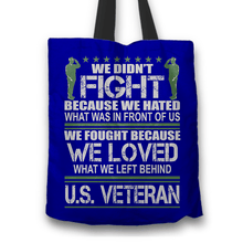 Load image into Gallery viewer, Designs by MyUtopia Shout Out:Veterans Don't Fight for Hate They Fight for Love Fabric Totebag Reusable Shopping Tote,Blue,Reusable Fabric Shopping Tote Bag