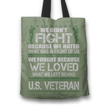 Load image into Gallery viewer, Designs by MyUtopia Shout Out:Veterans Don't Fight for Hate They Fight for Love Fabric Totebag Reusable Shopping Tote,Camo,Reusable Fabric Shopping Tote Bag