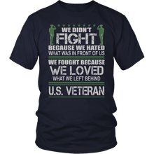 Load image into Gallery viewer, Designs by MyUtopia Shout Out:Veterans Don't Fight for Hate They Fight for Love Unisex T-Shirt,District Unisex Shirt / Navy / S,Adult Unisex T-Shirt