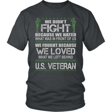 Load image into Gallery viewer, Designs by MyUtopia Shout Out:Veterans Don't Fight for Hate They Fight for Love Unisex T-Shirt,District Unisex Shirt / Charcoal / S,Adult Unisex T-Shirt