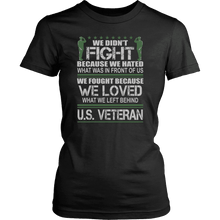 Load image into Gallery viewer, Designs by MyUtopia Shout Out:Veterans Don't Fight for Hate They Fight for Love Unisex T-Shirt,District Womens Shirt / Black / XS,Adult Unisex T-Shirt