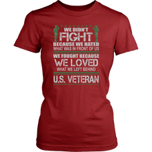 Load image into Gallery viewer, Designs by MyUtopia Shout Out:Veterans Don't Fight for Hate They Fight for Love Unisex T-Shirt,District Womens Shirt / Red / XS,Adult Unisex T-Shirt