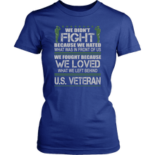 Load image into Gallery viewer, Designs by MyUtopia Shout Out:Veterans Don't Fight for Hate They Fight for Love Unisex T-Shirt,District Womens Shirt / Royal Blue / XS,Adult Unisex T-Shirt
