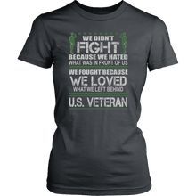 Load image into Gallery viewer, Designs by MyUtopia Shout Out:Veterans Don't Fight for Hate They Fight for Love Unisex T-Shirt,District Womens Shirt / Charcoal / XS,Adult Unisex T-Shirt