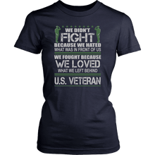 Load image into Gallery viewer, Designs by MyUtopia Shout Out:Veterans Don't Fight for Hate They Fight for Love Unisex T-Shirt,District Womens Shirt / Navy / XS,Adult Unisex T-Shirt