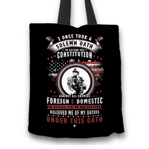 Designs by MyUtopia Shout Out:Veterans Solemn Oath of Enlistment Fabric Totebag Reusable Shopping Tote,Black,Reusable Fabric Shopping Tote Bag
