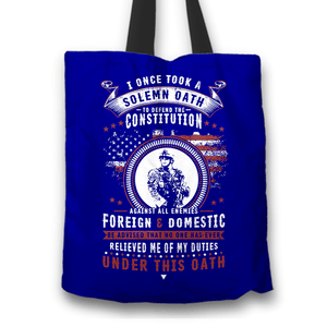 Designs by MyUtopia Shout Out:Veterans Solemn Oath of Enlistment Fabric Totebag Reusable Shopping Tote,Blue,Reusable Fabric Shopping Tote Bag