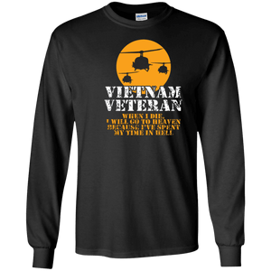 Designs by MyUtopia Shout Out:Vietnam Veteran, Going to Heaven, Already been in Hell Long Sleeve Ultra Cotton Unisex T-Shirt,S / Black,Long Sleeve T-Shirts