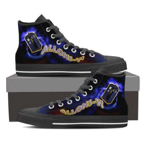 Designs by MyUtopia Shout Out:Vortex Allonsy Mens Canvas High Top Shoes,Mens US 8 (EU40) / Black,High Top Sneakers