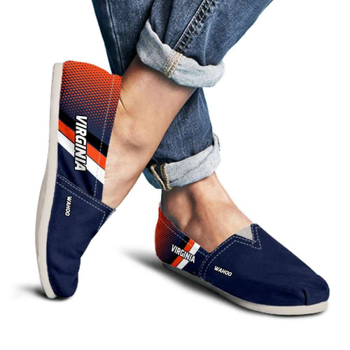 Designs by MyUtopia Shout Out:Wahoo Virginia Cavaliers Basketball Fans Casual Canvas Slip on Shoes Women's Flats