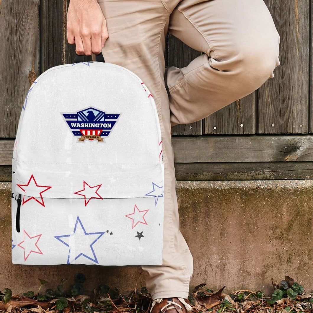 Designs by MyUtopia Shout Out:Washington Veteran Backpack,Large (18 x 14 x 8 inches) / Adult (Ages 13+) / White/Red/Blue,Backpacks