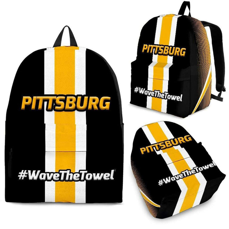 Designs by MyUtopia Shout Out:#WaveTheTowel Pittsburgh Backpack