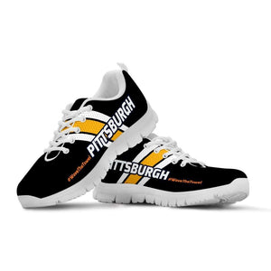 Designs by MyUtopia Shout Out:#WaveTheTowel Pittsburgh Fan Running Shoes,Kid's / 11 CHILD (EU28) / Black/Gold,Running Shoes