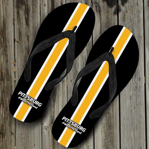 Designs by MyUtopia Shout Out:#WaveTheTowel Pittsburgh Flip Flops