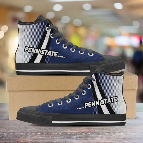 Designs by MyUtopia Shout Out:#WeAre Penn State Canvas High Top Shoes,Men's / Mens US 5 (EU38) / Blue/White/Black,High Top Sneakers