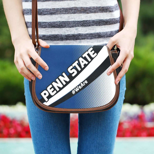 Designs by MyUtopia Shout Out:#WeAre Penn State Fan Canvas Saddlebag Style Crossbody Purse