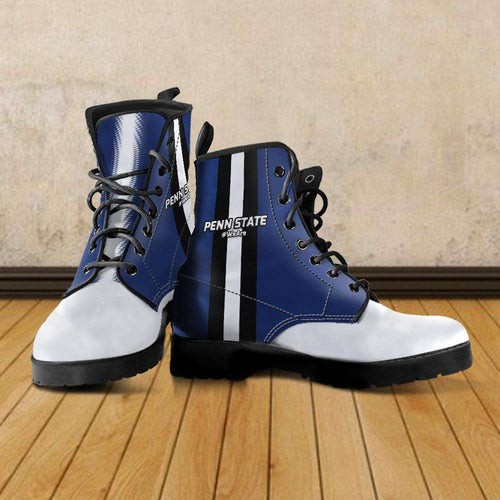 Designs by MyUtopia Shout Out:#WeAre Penn State Fan Faux Leather 7 Eye Lace-up Boots,Men's / Mens US5 (EU38) / Blue/White/Black,Lace-up Boots
